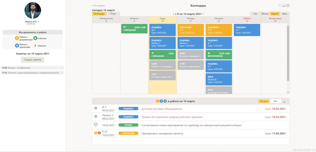 Отображение информации по документам, проектам документов, совещаниям и другим задачам на неделю в модуле «План-календарь»